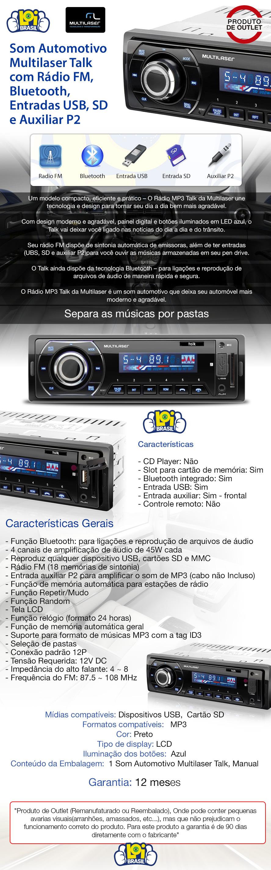 Auto Radio Bluetooth Multilaser Talk Mp3 Pendrive Sd Loi