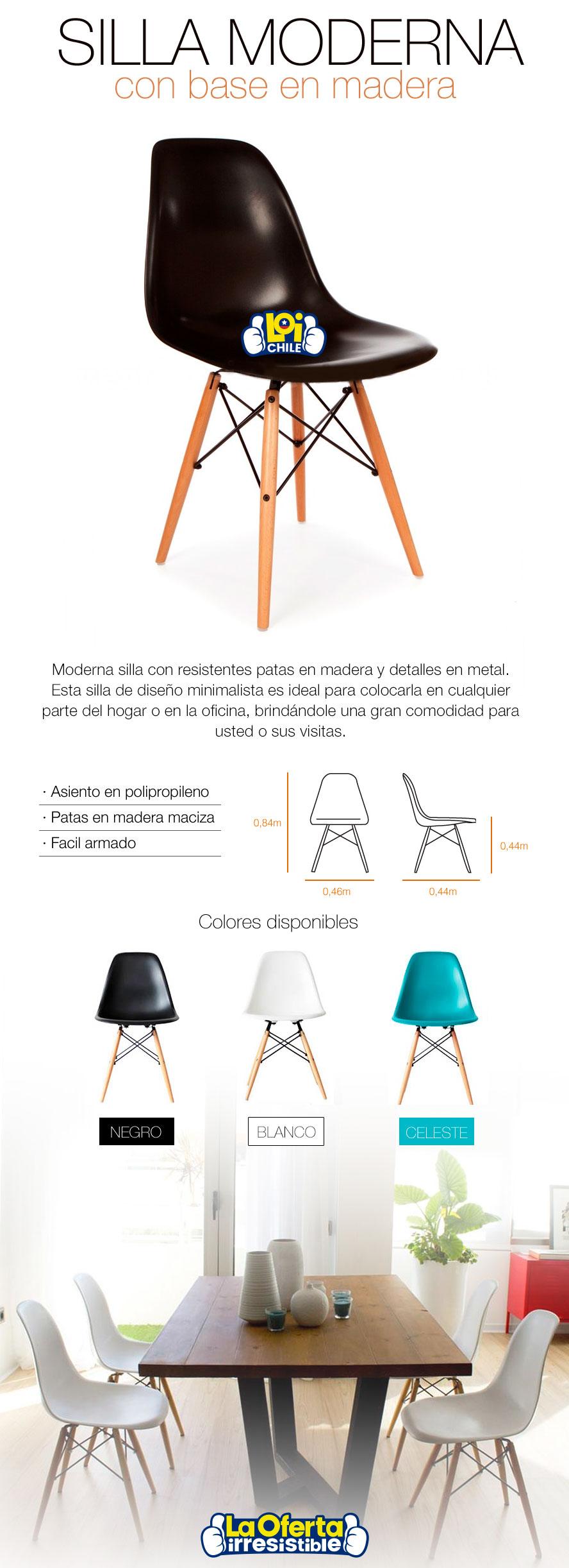 Set de 4 sillas de dise o eames en color blanco oferta loi for Sillas de diseno chile