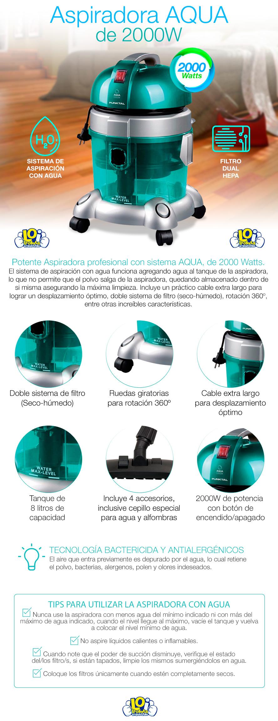 Aspiradora profesional punktal 2000w con filtro hepa for Aspiradora con filtro hepa