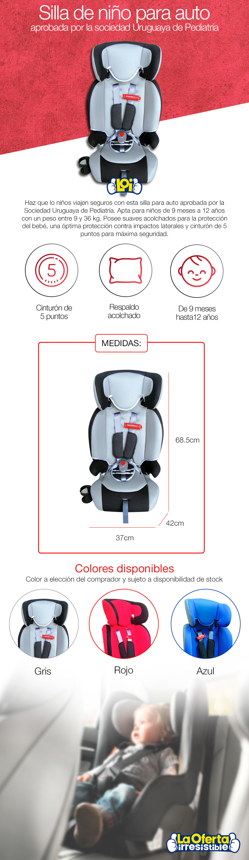 Silla butaca de ni os gris con aprobaci n para auto for Butaca para auto bebe
