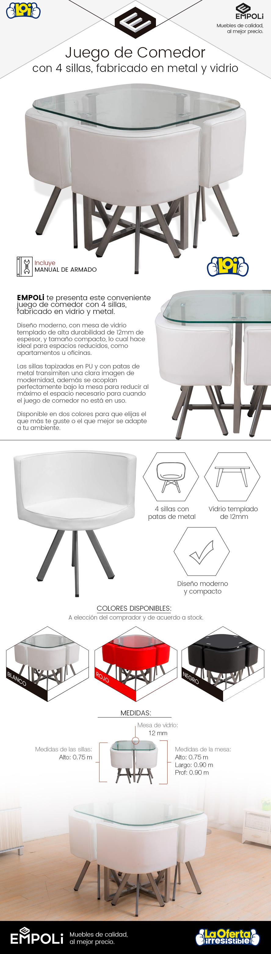 Juego de comedor empoli metal y vidrio 4 butacas negro for Juego de comedor 4 sillas moderno
