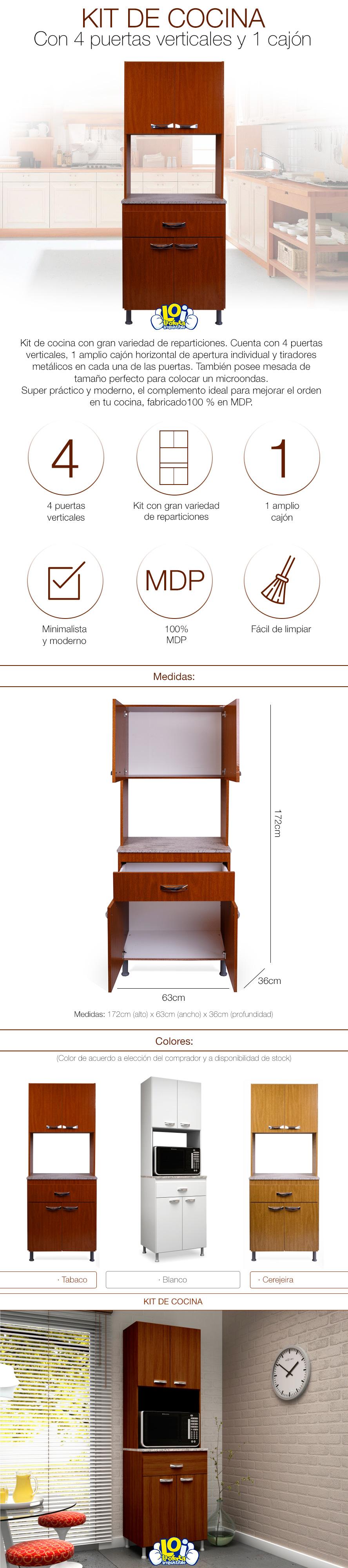 Mueble armario de cocina 4 puertas 1 caj n color tabaco for Armarios de cocina en kit