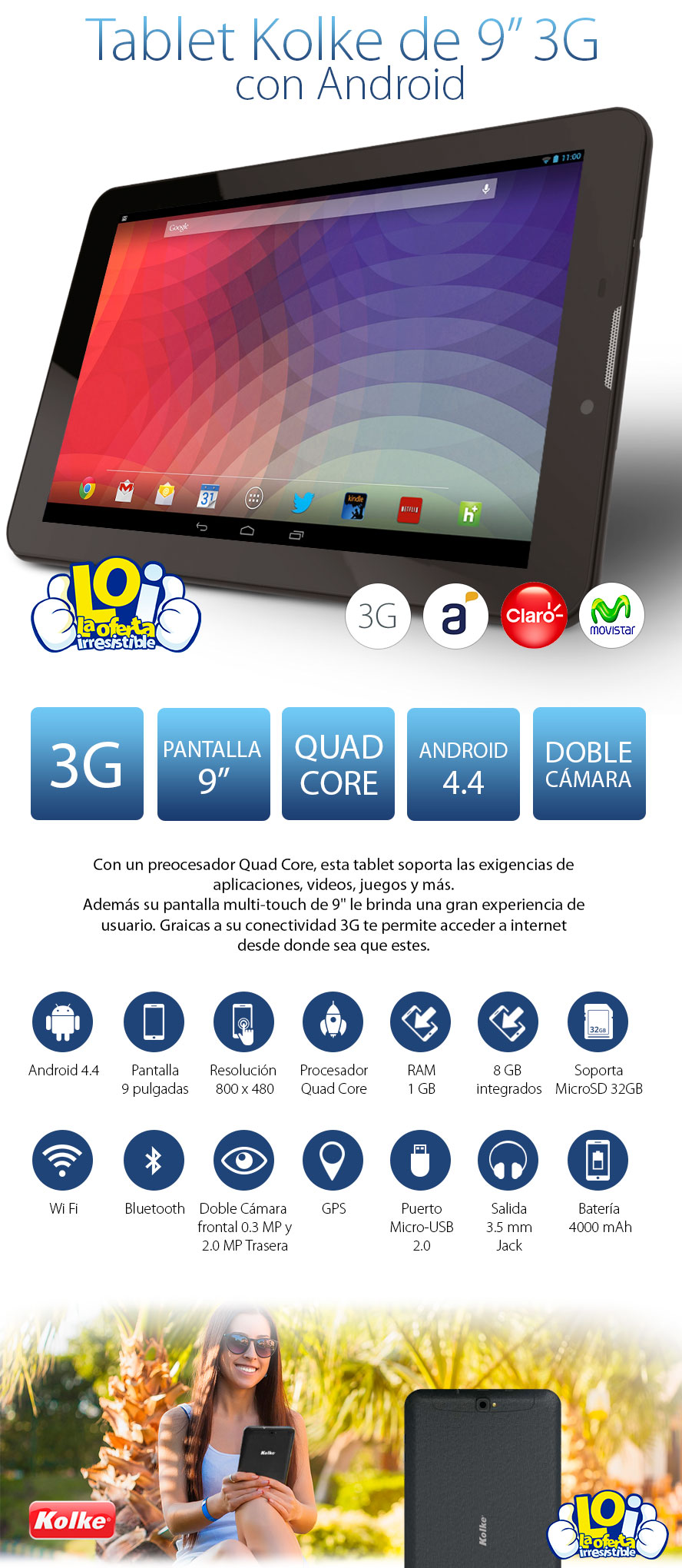 Tablet kolke 9 quad core conectividad 3g celular oferta for Salida de envio de oficina de cambio de destino
