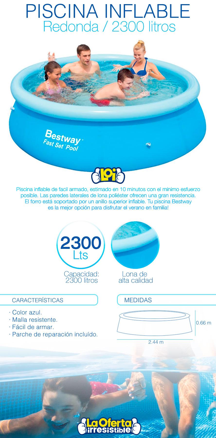 Piscina redonda inflable de 2300 litros oferta loi for Litros de una piscina