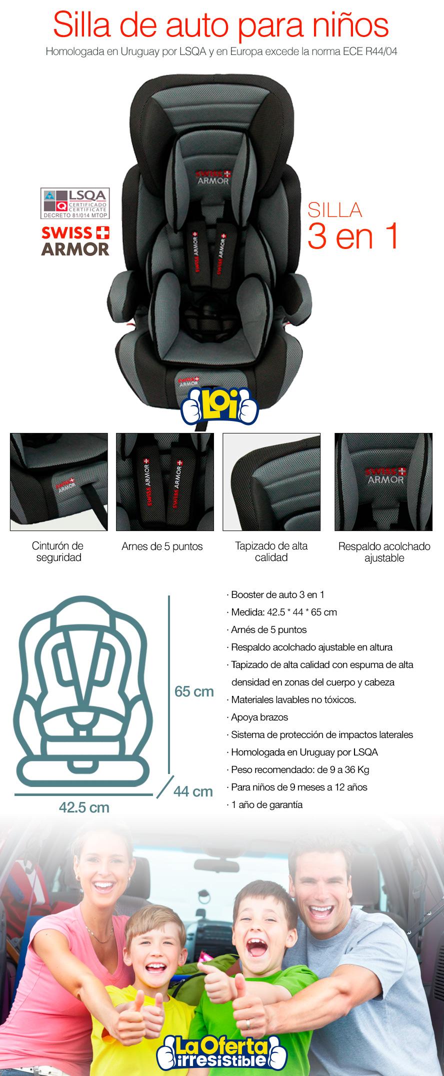 Silla de auto para ni os hasta 12 a os swiss armor oferta for Sillas para auto ninos 9 anos