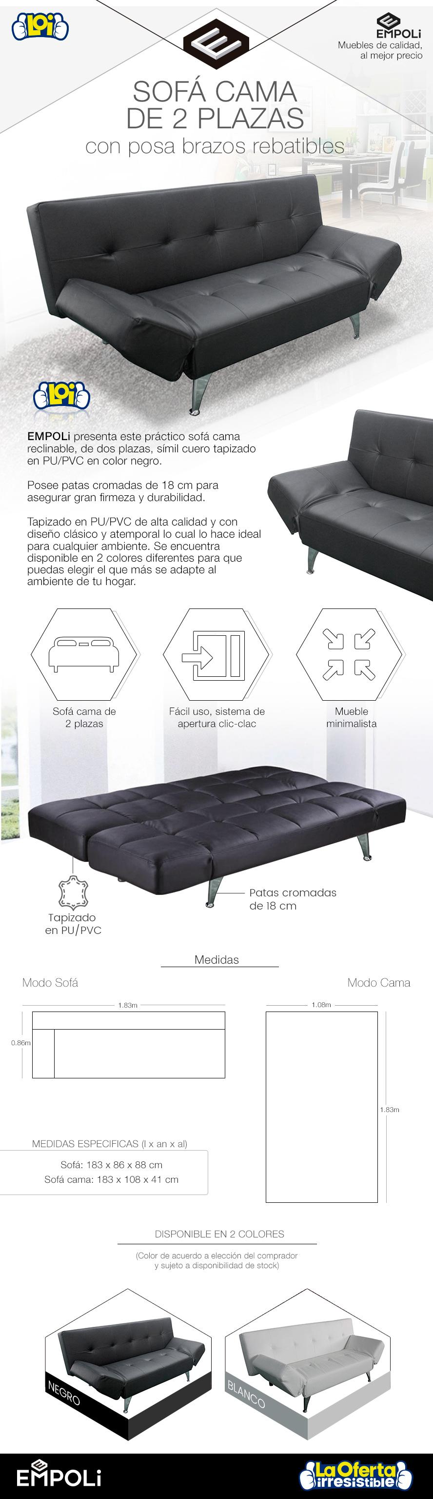 Sof cama empoli 2 plazas pozabrasos rebatibles 016a bk for Sofa cama 2 plazas oferta