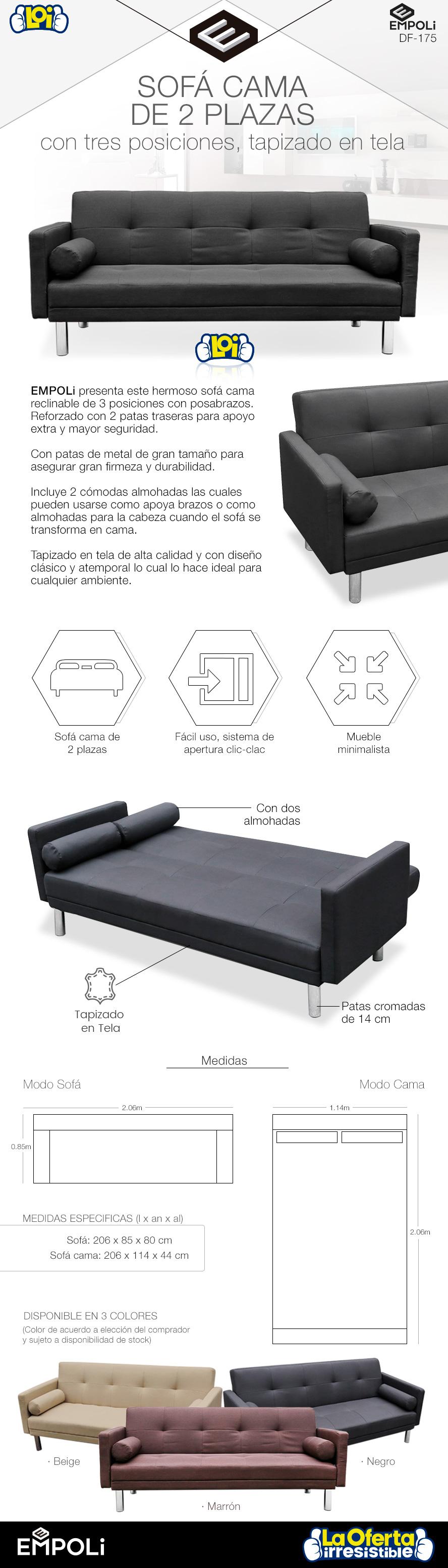 Sof cama empoli 2 plazas y 3 posiciones negro f175 for Medidas sofa cama 2 plazas