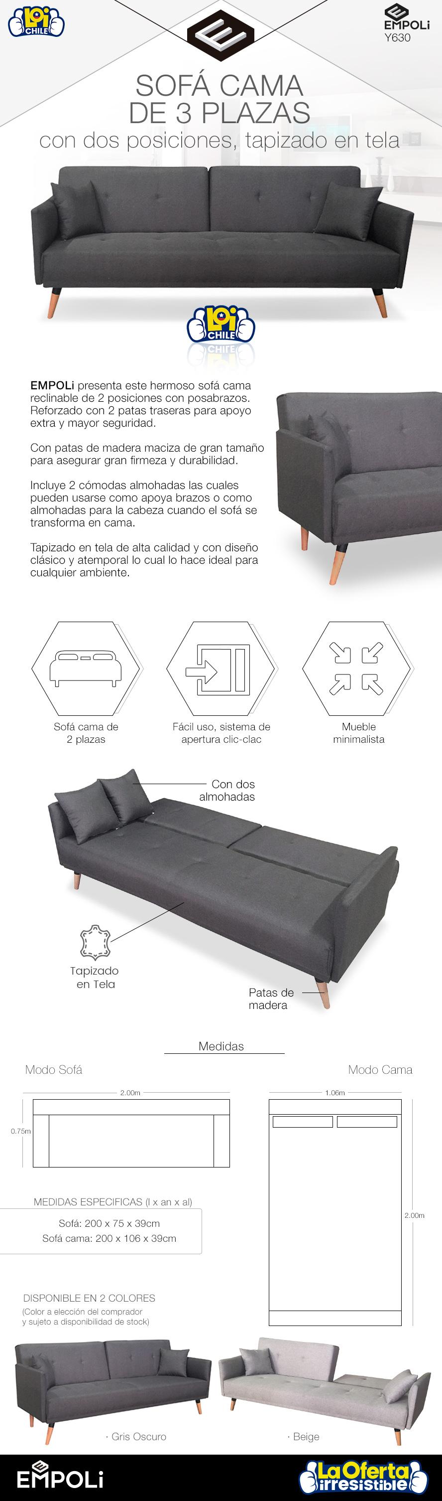 Sof cama empoli de 3 cuerpos modelo y630 beige oferta loi for Sofa cama de un cuerpo
