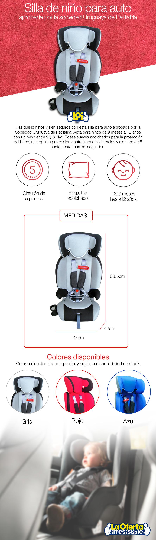 Silla butaca de ni os gris con aprobaci n para auto for Oferta sillas de auto para ninos