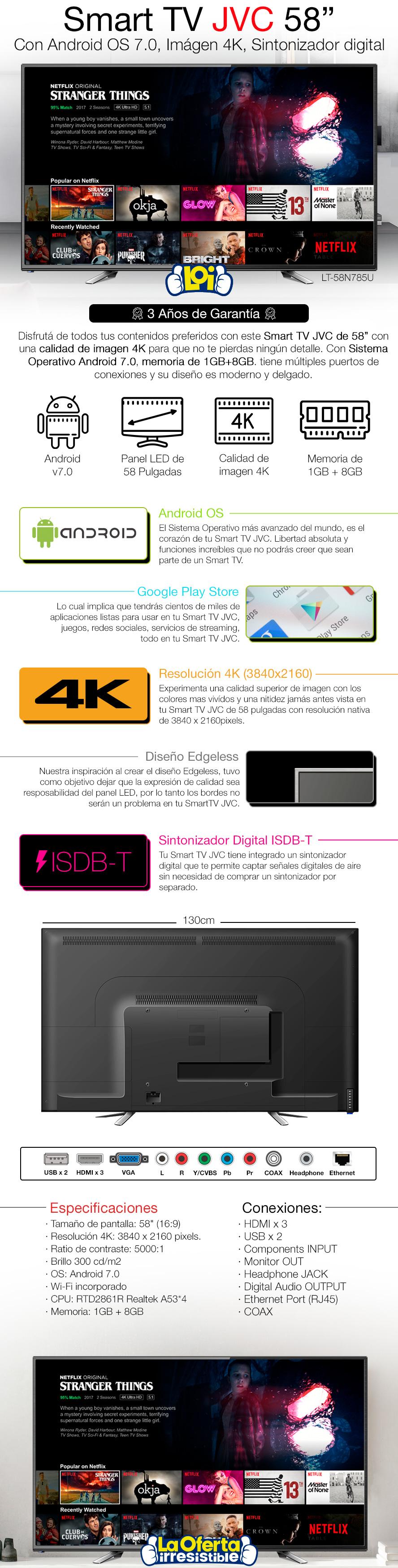 SMART TV 58' 4K UltraHD JVC con ¡3 Años de Garantía!
